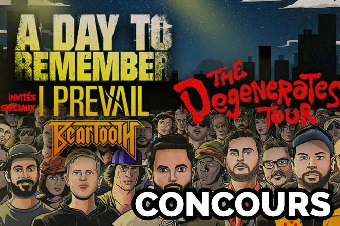 À GAGNER: billets pour assister au spectacle de A DAY TO REMEMBER